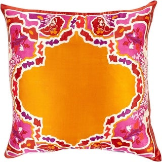 """20"""" Bright Orange and Red Floral Pattern Woven Square Throw Pillow"""