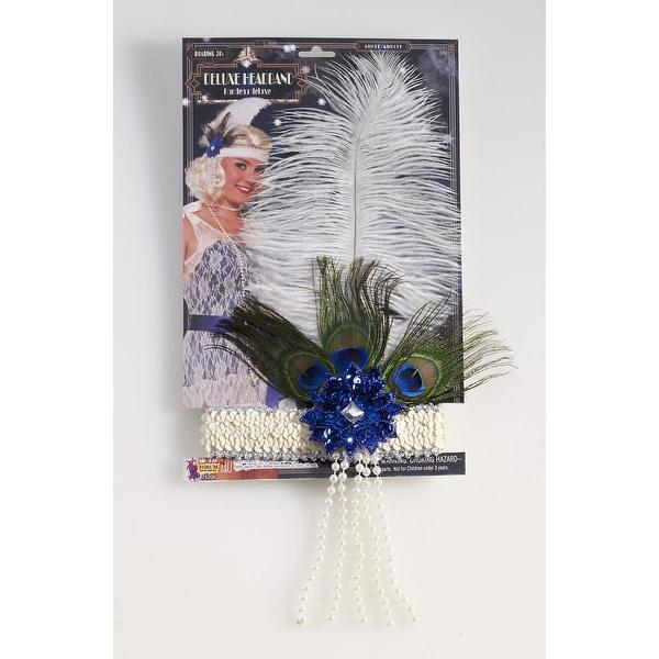Roaring 20's Deluxe Costume Headband Beige - Blue