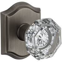 Baldwin PS.CRY.TAR Crystal Passage Door Knob Set with Traditional Arch Trim from the Reserve Collect