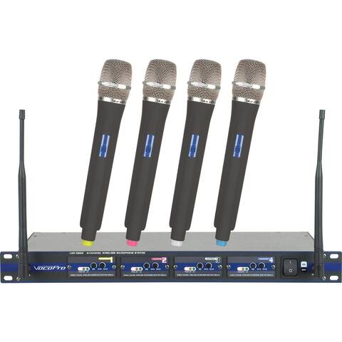 Professional 4-Channel Uhf Wireless Microphone System W/Case Freq:10