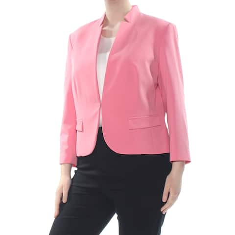 NINE WEST Womens Pink Darted Pocketed Single Button Wear To Work Jacket Size: 16