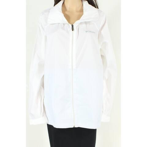 Columbia Womens Jacket Crisp White Size 3X Plus Windbreaker Full-Zip
