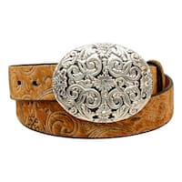 Ariat Western Belt Womens Hair Scroll Crystals Oval Tan
