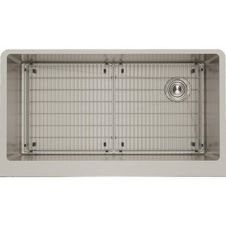 "Elkay CTXF134179RC  Crosstown 35-7/8"" Drop In Single Basin Stainless Steel Kitchen Sink with Basin Rack and Basket Strainer"