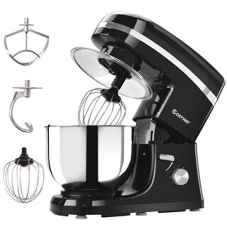 Costway Electric Food Stand Mixer 6 Speed 5.3Qt 800W Tilt-Head Stainless Steel Bowl - Black