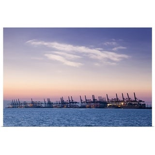 """""""Container terminal at sunset"""" Poster Print"""