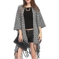 QZUnique Womens Wave Pattern Poncho Shawl Cape Tassel Cardigan Sweater