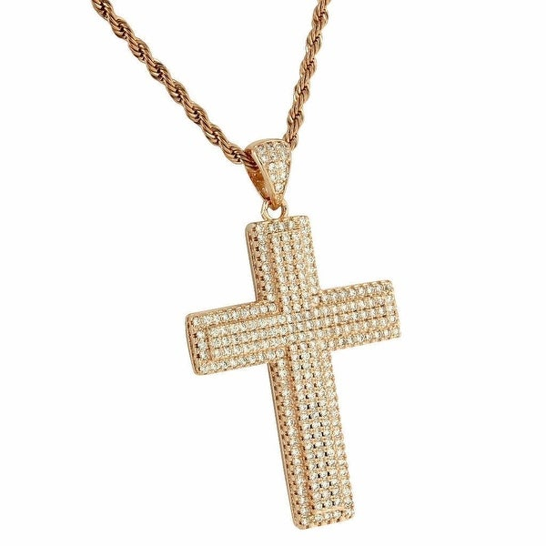 "Full Iced Out Cross Pendant Lab Diamonds Rope Necklace 24"" Rose Gold Tone"