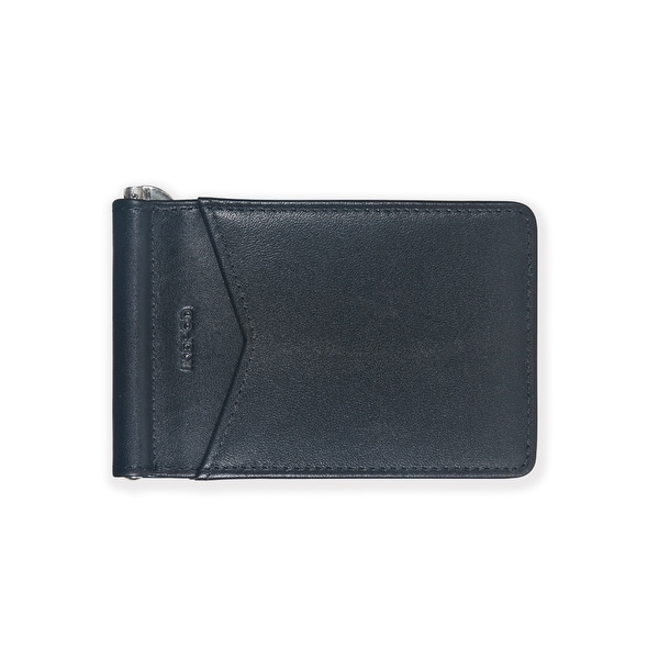 Ikepod Mens Moeny Clip (Black of 3 Color) [ Italy Leather// Front Pocket Size ] - Black