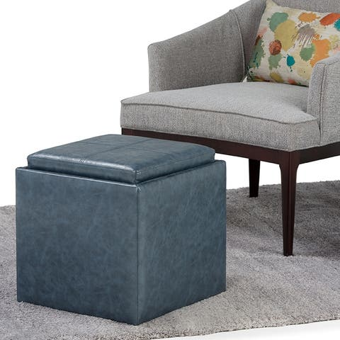 WYNDENHALL Townsend 17 inch Wide Contemporary Square Storage Ottoman