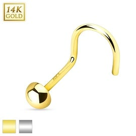 Flat Bottom Dome Top 14K Gold Nose Screw (Sold Individually)