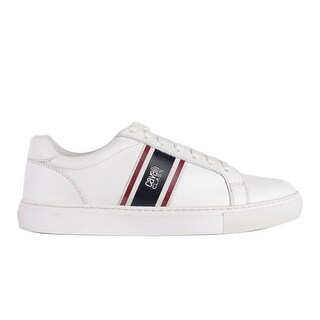 Cavalli Class Men's White w/stripes Low-Top Round Toe Leather Sneakers