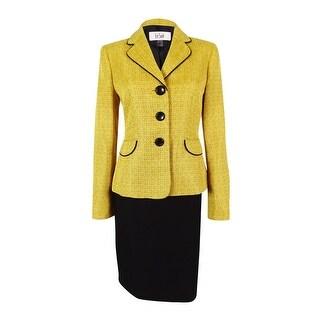 Le Suit Women's Monte Carlo Contrast Trim Skirt Suit (8, Gold Leaf/Black) - 8