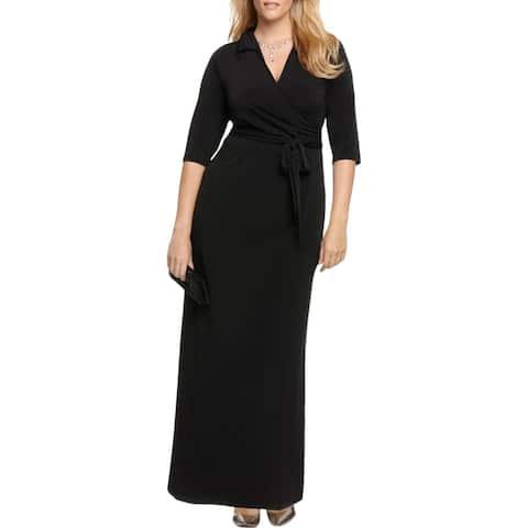 NY Collection Womens Plus Maxi Dress Faux-Wrap A-Line