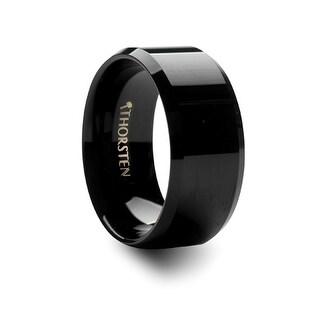 THORSTEN - SACRAMENTO 10mm Black Tungsten Carbide Ring with Beveled Edges