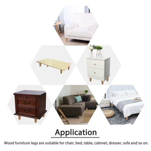 4 Inch Round Solid Wood Furniture Legs Sofa Couch Chair Table Desk Closet Cabinet Feet Replacement Adjuster Set of 8
