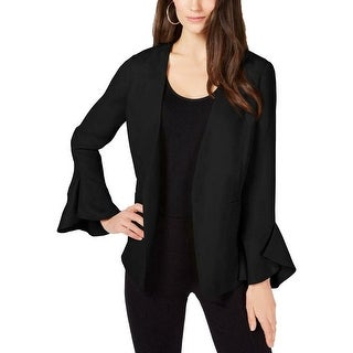 Alfani Women's Jacket Black Size Small S Flutter Sleeve Open Front