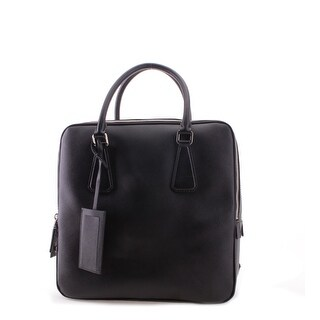 Prada Double Pocket Large Saffiano Leather Travel Handbag - Black - M