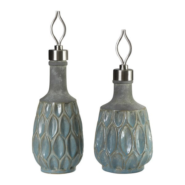 """Set of 2 Blue and Gray Ceramic Bottles 20"""" - N/A"""