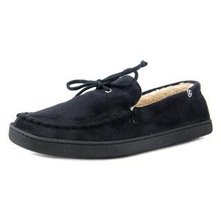 Isotoner Signature Moccasin Slippers Men Moc Toe Canvas Black Slipper