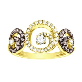 Prism Jewel G-H/SI1 Brown Color Diamond with Natural Diamond Three Open Round Fancy Ring - White G-H