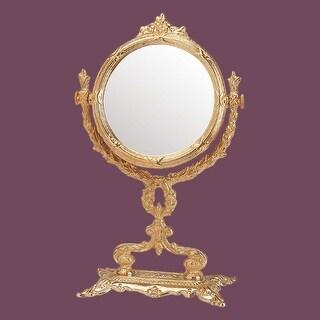 Victorian Antique Vanity Mirror Cast Brass 12 1/4 H