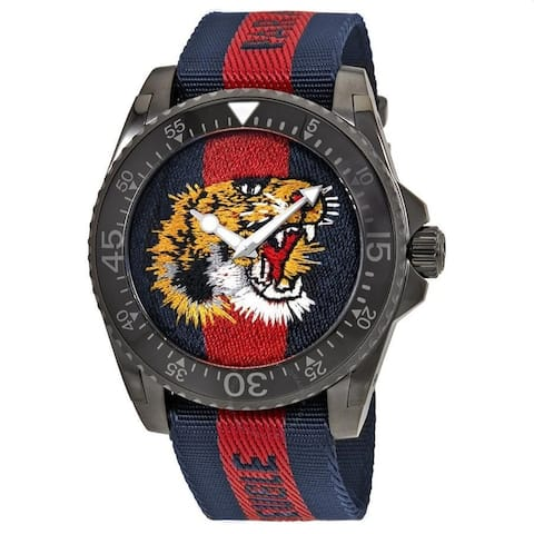 Gucci Men's YA136215 'Dive' Tiger Embroidered Dial Red and Blue Nylon Watch - Multi