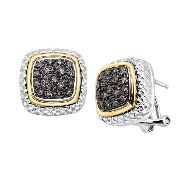 1/4 ct Champagne Diamond Paveacute; Frame Earrings in Sterling Silver & 14K Gold