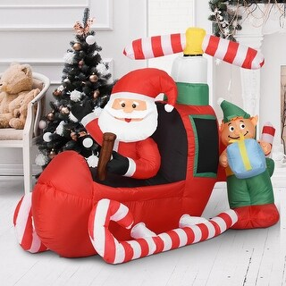 Costway 6' Christmas Decoration Inflatable Santa Claus Flying Airplane Lighted Outdoor - as pic