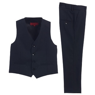 Little Boys Navy Vest Pants Special Occasion 2 Pcs Outfit Set 2T-7