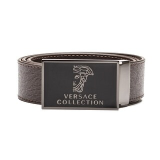 Versace Collection Men's Medusa Head Saffiano Leather Belt Brown Steel (4 options available)