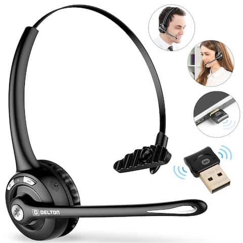 Delton Over-the-Head Trucker Bluetooth Wireless Headset with Mini USB Dongle and Built-In Mic