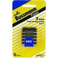 Bussmann BP/AGC-3 Glass Automotive Tube Fuse, 3 Amp