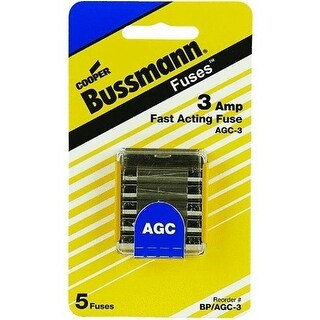 Bussmann BP/AGC-3 Glass Automotive Tube Fuse, 3 Amp