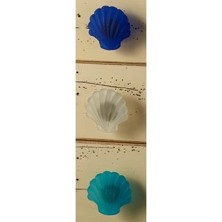 Scallop Shell Seaglass Drawer Knobs Pulls Set of 3 Blue White and Teal