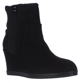 Taryn Rose Beula Wedge Ankle Boots - Black Suede