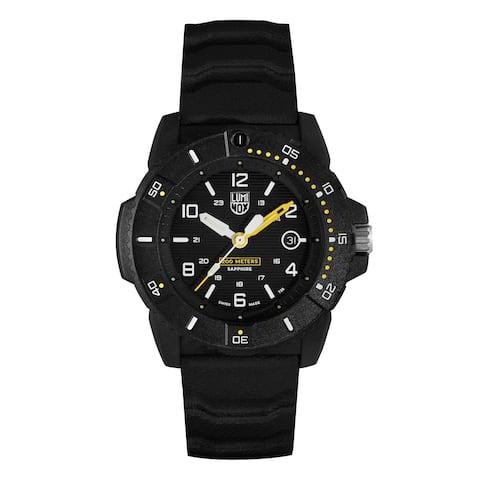 Luminox Men's XS.3601 Sea Series Black Carbonox Yellow Acccents Rubber Strap Watch