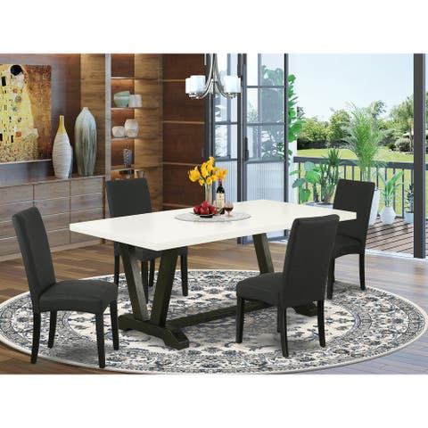 Dining Room Set Including Parson Chairs with Black Linen Fabric and Rectangular Table Top (Number of Chair and Bench Option)