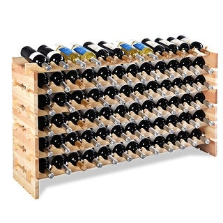 Costway 72 Bottle Wood Wine Rack Stackable Storage 6 Tier Storage Display Shelves - natural