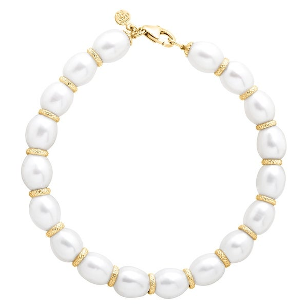 Honora Freshwater Pearl Ringed Spacer Bracelet in 10K Gold