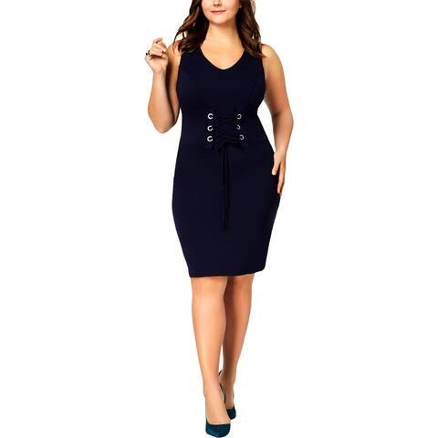 Love Squared Womens Plus Bodycon Dress Corset-Waist V-Neck - 2X