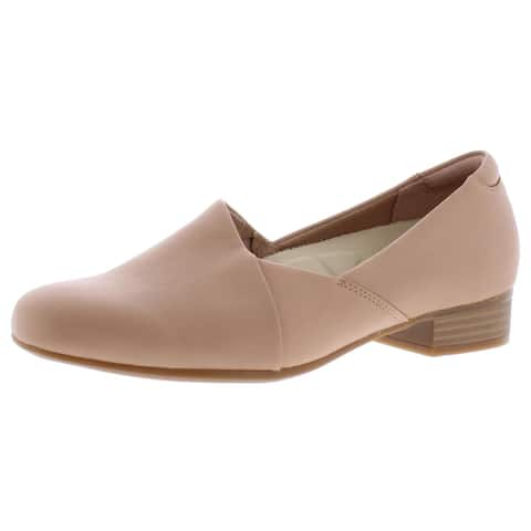 Clarks Collection Women's Juliet Palm Leather Slip On Stacked Heel Loafer