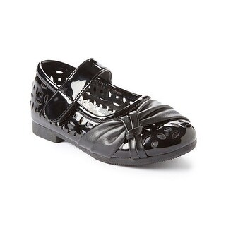 Little Girls Black Perforated Bow Detail Patent Mary Jane Flats 5-10 Toddler
