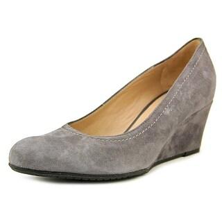 Maison Martina Carving Women Open Toe Suede Gray Wedge Heel