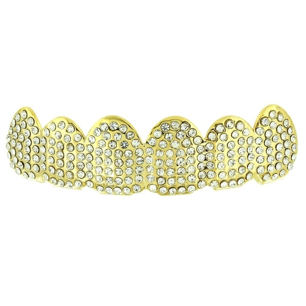 Fully Iced Out Top Grillz Lab Diamonds 14K Yellow Gold Finish On Sale