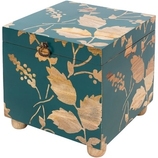 Link to Freya Bright Blue Decorative Wood Storage Cube Similar Items in Home Office Furniture