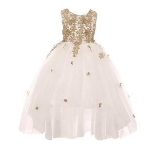 Little Girls White Gold Glitter Embroidered Hi-Low Flower Girl Dress