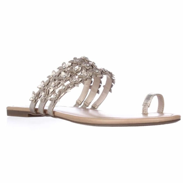 I35 Linaa Flower Strap Slide Sandals, Pearl Gold