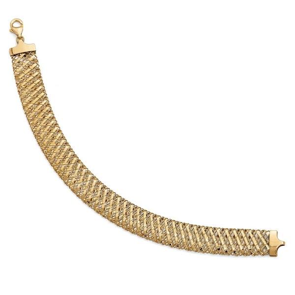 Italian 14k Gold Fancy Stretch Bracelet - 7.25 inches