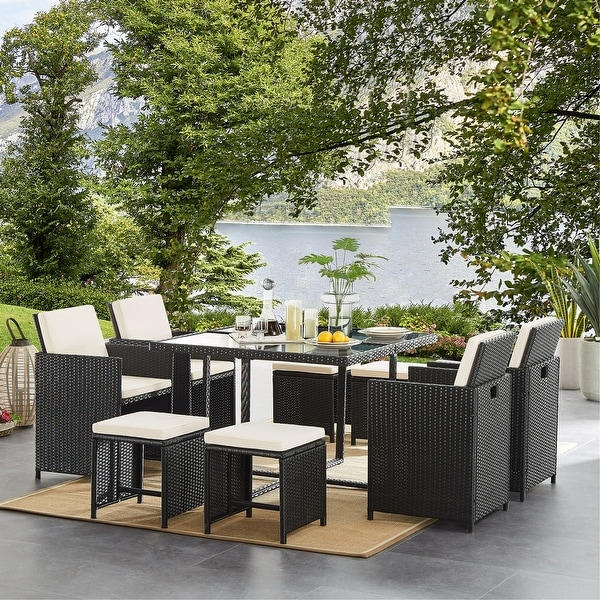 9 Pieces Outdoor Patio Furniture Dining Table Sets with Cushions, Wicker Furniture Set with Dining Table. Opens flyout.